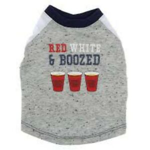 New-with-Tags-Top-Paw-Red-White-and-Boozed-Dog-Shirt-Size-Small