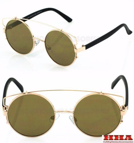 Round Metal Frame Mirrored Reflective Large Oversized Lenses Women Sunglasses