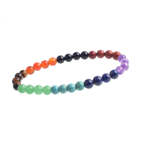7 Chakras Reiki Guérison Équilibrage perles rondes fashioncrystal Rainbow Bracelet