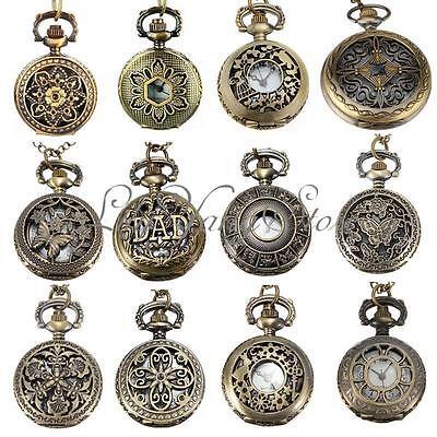 Vintage Steampunk Retro Bronze Design Pocket Watch Quartz Pendant With Chain