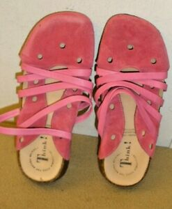 NWOB-Think-Cerise-Suede-Strappy-Slip-on-Shoes-with-Low-Heels-Size-38