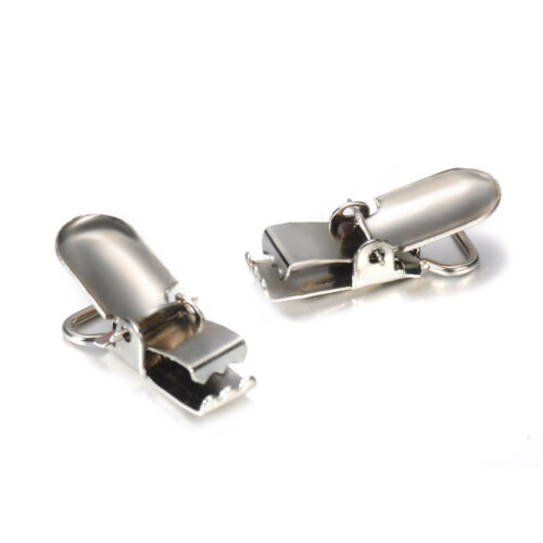 Lot 10//20pcs Metal Baby Holder Insert Pacifier Silver Tone Suspender Clip Mitten
