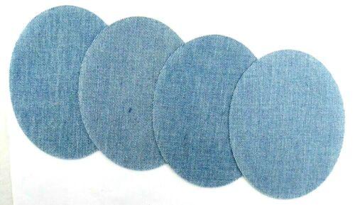 Flickstoff 4 Jeans-manchas ovaladas 3-863 para plancha//coser azul claro