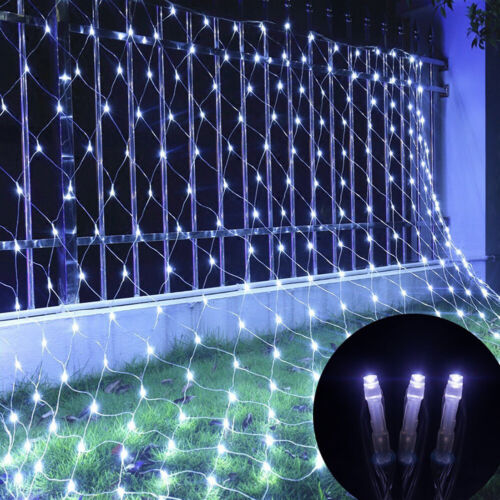 LED Fairy Curtain Lights Net Mesh Indoor Outdoor Wall Wedding Party Decor AC110V