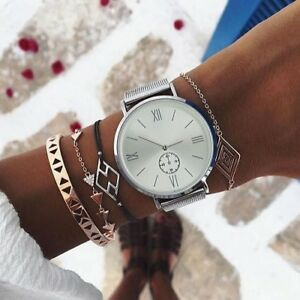 Armbanduhr-Damen-Silber-Metall-Uhr-Damenuhr-Geschenk-Blogger-Trend-Analog-Quarz
