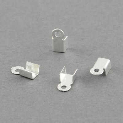 50 CACHE NOEUDS EMBOUTS CORDON 10x5mm EN METAL ARGENTE pour fils 3mm-3,5mm *A189