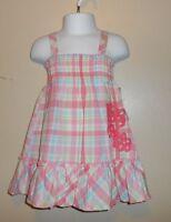 Flapdoodles Girls Plaid Empire Waist Ruffled Hemline Sun-dress Pink Six (6)