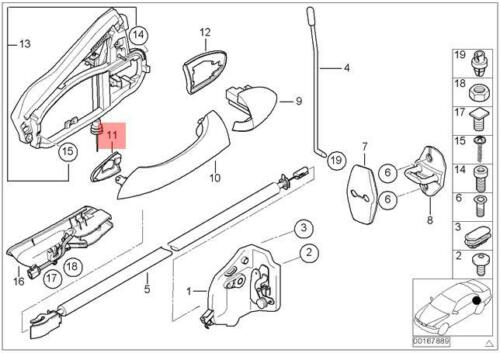 Genuine BMW E53 SUV Door Handle Lock Base Left OEM 51218243629