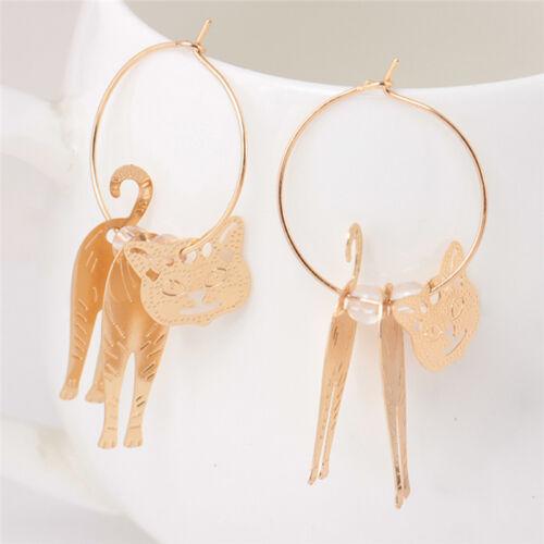 Gold Circle Animal Cat Pendant Earrings Pearl Hook Drop Dangle Earrings  I