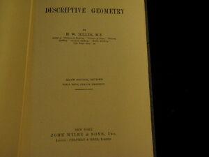 DESCRIPTIVE GEOMETRY H W Miller 6th ed 1930 Point Line Plane Shades Shadows  A90