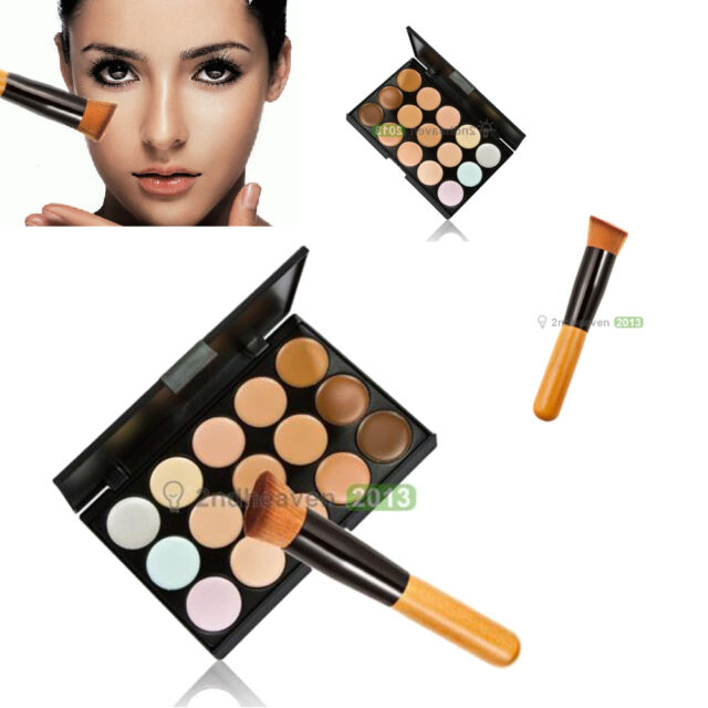 Pro 15 Colors Contour Face Cream Makeup Concealer Palette + Wooden Powder Brush