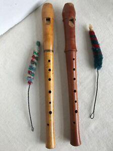 Pair-of-Vtg-German-Wood-Flute-Recorders-TUJU-Moeck-amp-Alex-Heinrich-w-Brush-1970