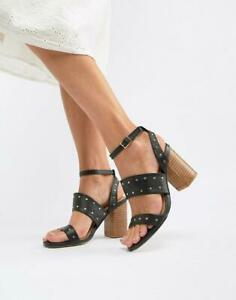 RRP-45-Womens-Ladies-Ankle-Strap-Studded-Sandals-Block-Heel-Shoes-Black-Sz-3-8