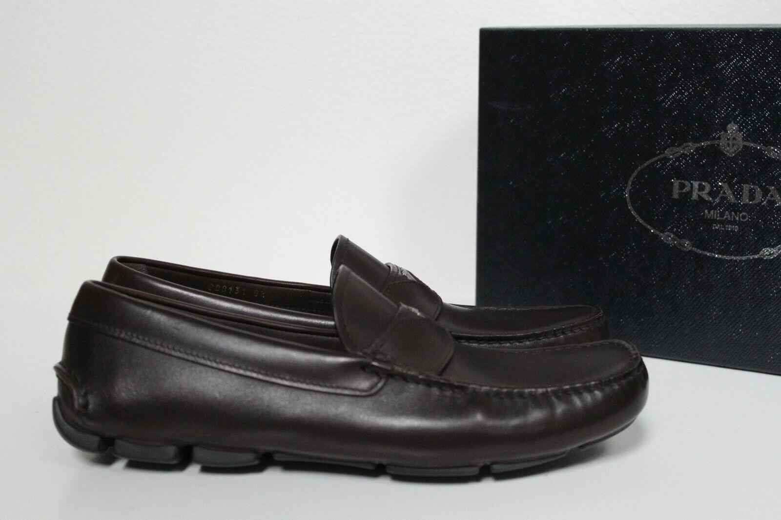 New sz 9.5 US   8.5 UK Prada Slip on Marronee Leather Driving Loafer MEN Dress scarpe
