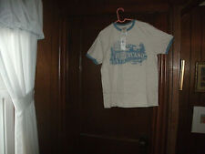 timberland t-shirt S/S gray w/ graphic light blue design scene size small NWT