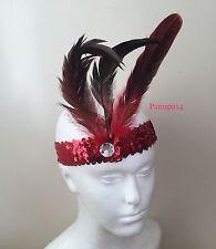 Cerchietto Rosso Paillettes Piuma 1920s Costume Charleston Flapper Fascia Sopracciglio
