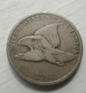 1858-Flying-Eagle-Cent-Small-Penny-Small-Letters-Original-Approx-Fine-F-Coin