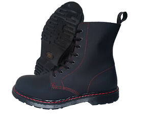 Details about Boots & Braces 8 Hole Boot Matt Black Leather Red Stitch Soft Toe Punk Skinhead