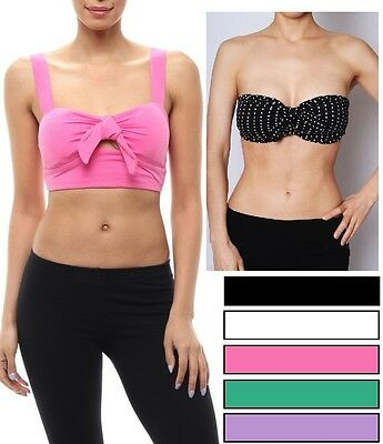 MANY COLORS Front Bow Crop Padded Bandeau Bralette Top Sizes S M L