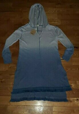 NWT Women/'s Blue Ombre Boutique Long Waffle Fringe Hooded Tunic Size Large L