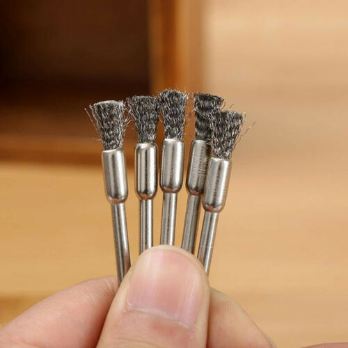 2X 3mm Rotary Steel Wire Wheel Brush Cup Tool Shank for Drill Rust Weld New