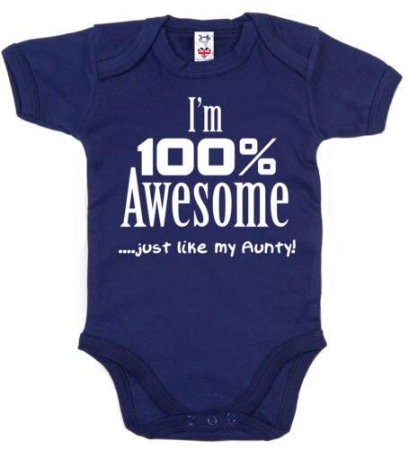 """Divertente Zia Body i/'M 100/% Awesome Just Like My Zia /"""" Baby Grow Aunt Regalo"""