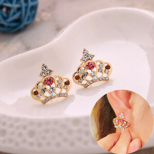 1 pair Crown Fashion Elegant Crystal Rhinestone Ear Stud Earrings Women Lady