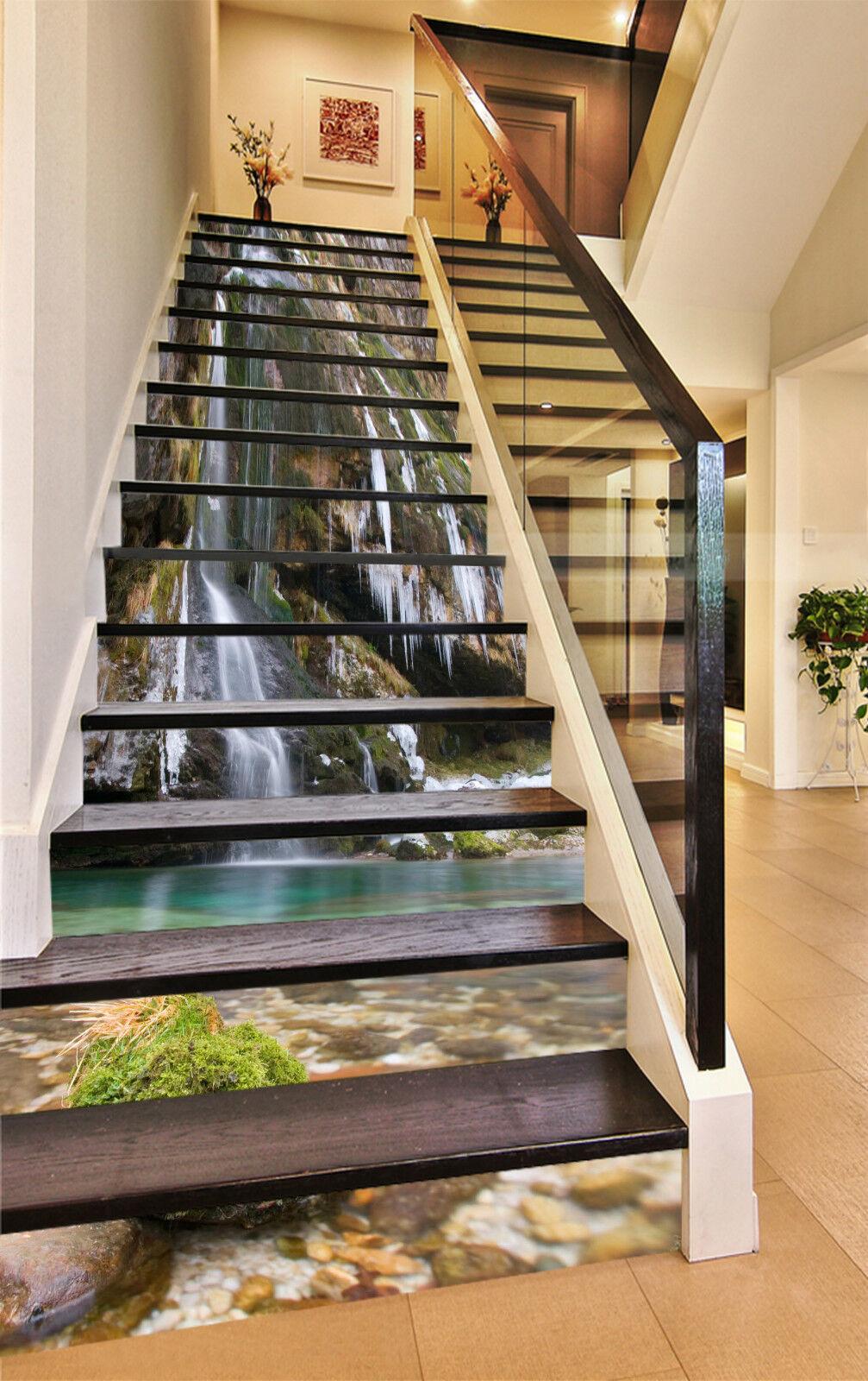 3D Sauber Fluss 473 Stair Risers Dekoration Fototapete Vinyl Aufkleber Tapete DE
