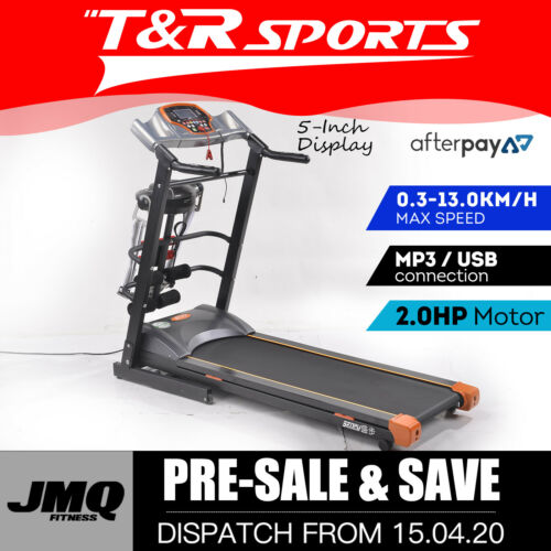 JMQ Fitness SP1008 Electric Folding Treadmill Multifuntional Accessories Grey