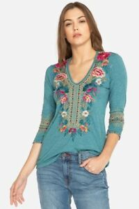 Johnny-Was-JWLA-Katina-3-4-Sleeve-Deep-Scoop-T-shirt-New-Boho-Chic-J17818