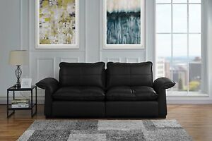 Details about Classic Living Room Tufted Leather Sofa with Adjustable Arm  Rests (Black)
