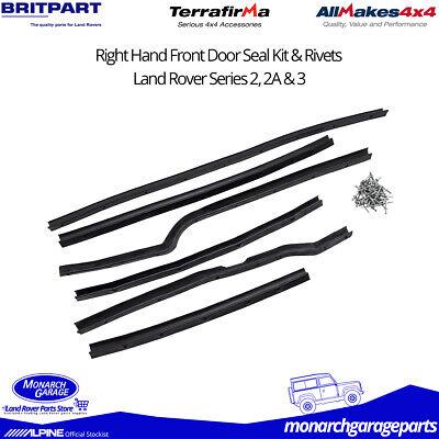 Land Rover Série 2//2A//3 RH Front Door Seal Kit 6 Pièces /& rivets DA1494