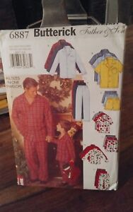 Oop-very-easy-Butterick-6887-father-son-pajamas-shorts-all-sizes-NEW