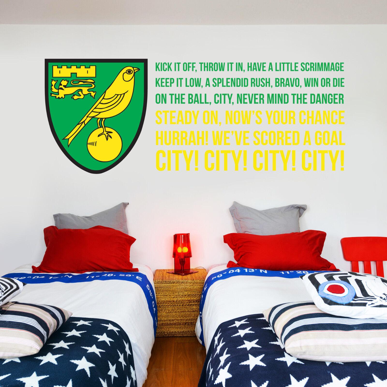 Norwich City Club Nom Autocollant murale Mural murale Autocollant  Canaris Autocollant Decal Set 17190d