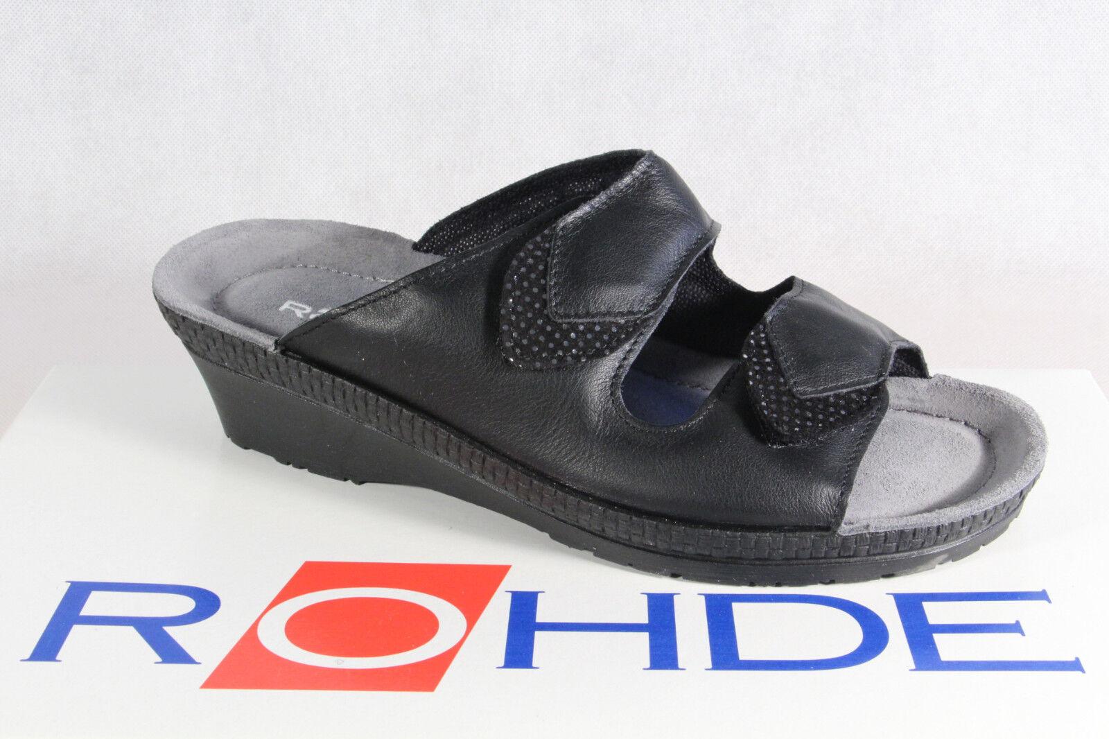 Rohde Sandali Sandali Pantofole Pantofole Nero Larghezza G 1477 NUOVO!
