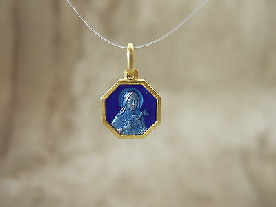 Vintage Catholic ST. THERESE MEDAL Blue enamel 11mm Gold finish metal