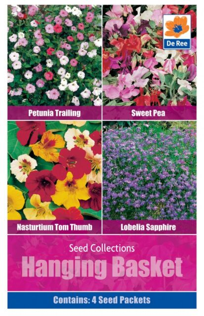 De Ree Seeds - Hanging Basket - 4 Types - Petunia - Lobelia - Nastutium and more