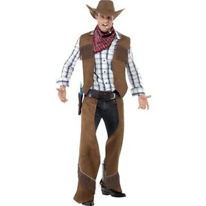 Men/'s Adult Cowboy Fancy Dress Costume Waistcoat Chaps Scarf Hat Stag Dallas Fun