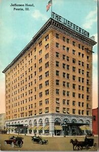 PEORIA, IL - Jefferson Hotel Street View, Horse and Carriage, Illinois Postcard