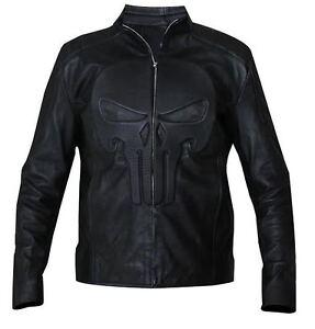Black Real Discount Embossed Leather Biker Punisher Skull Jacket Padded nnO64qz