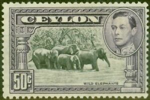 Ceylon-1938-50c-Black-amp-Mauve-SG394a-P-13-x-13-5-Fine-LIghtly-Mtd-Mint-Scarce