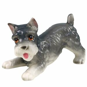Lefton Schnauzer Puppy Dog Figurine Crouching Hand Painted Gray Porcelain H8081