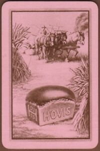 Playing-Cards-Single-Card-Old-HOVIS-BREAD-Reaping-FARM-HORSES-Advertising-Art-5