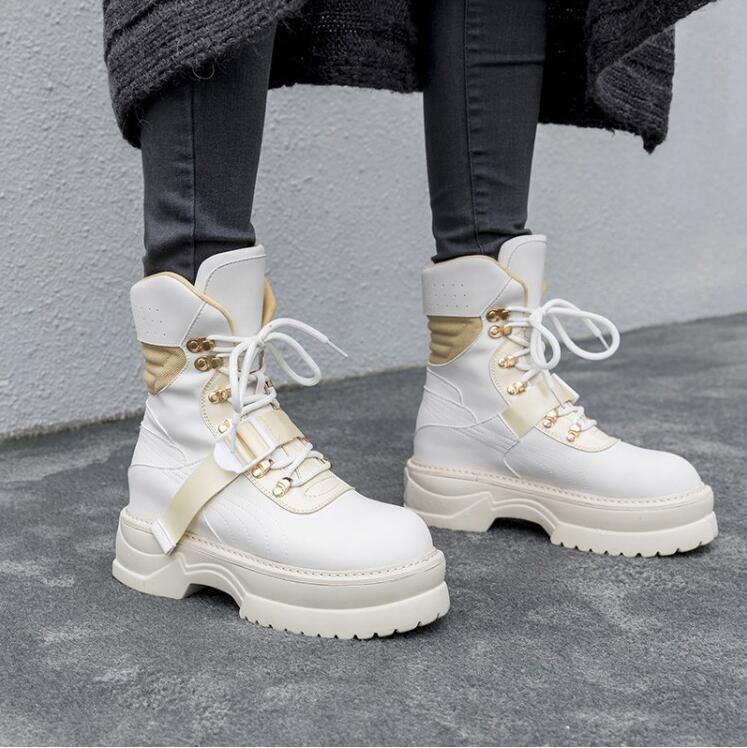 Mujer botas al Tobillo Goth Invierno Cálido librar Zapatos Zapatos Zapatos De Plataforma Con Cordones Militar U665  Vuelta de 10 dias