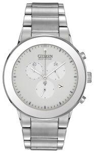 Citizen-Eco-Drive-Men-039-s-Chronograph-White-Dial-Bracelet-43mm-Watch-AT2240-51A