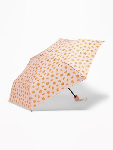 Old Navy Umbrella Oranges Print Pink 55 CM Collapsible New Fast Shipping