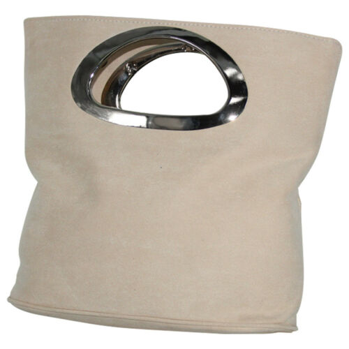Womens Ladies Suede Leather Handle Clutch Evening Prom Bag Bridal Handbag Purse