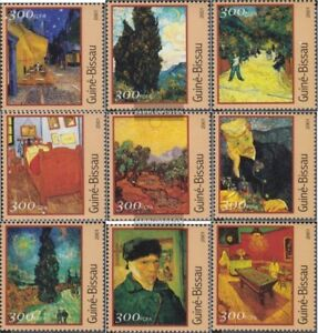 Art Stamps Guinea-bissau 1651-1659 Postfrisch 2001 Gemälde Sufficient Supply