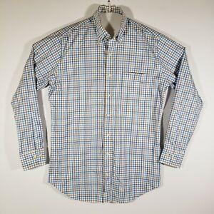 Men's Peter Millar Button Down Dress Shirt Plaid Long Sleeve Medium 100% Cotton
