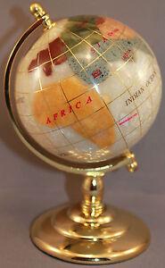 Genuine Multi-Gemstone Desktop Globe Gold Tone Base Turquoise Globe Free S /& H